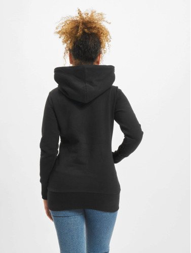 Urban Classics Damen Hoody Long Logopatch in schwarz