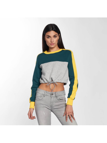 Urban Classics Mujeres Jersey 3-Tone Stripe Cropped in gris