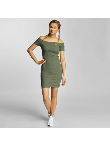 Urban Classics Damen Kleid Off Shoulder Rib in olive