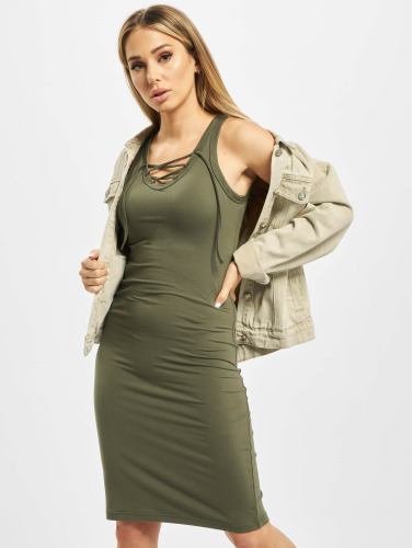 Urban Classics Damen Kleid Lace Up in olive