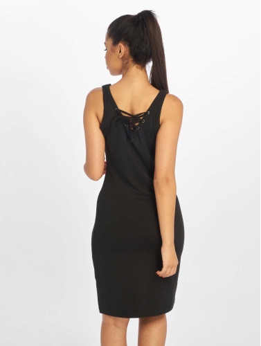 Urban Classics Damen Kleid Lace Up in schwarz