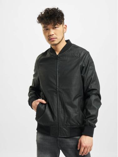 Urban Classics Herren Lederjacke Imitation Leather Raglan in schwarz