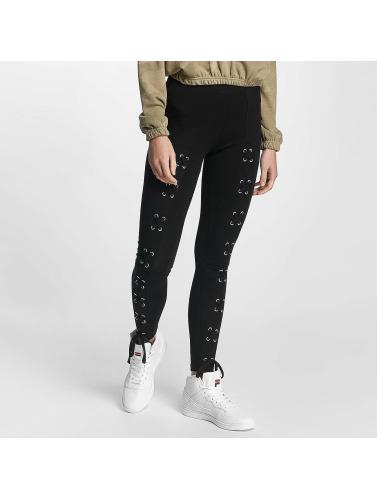 Urban Classics Damen Legging Laced Up Front in schwarz