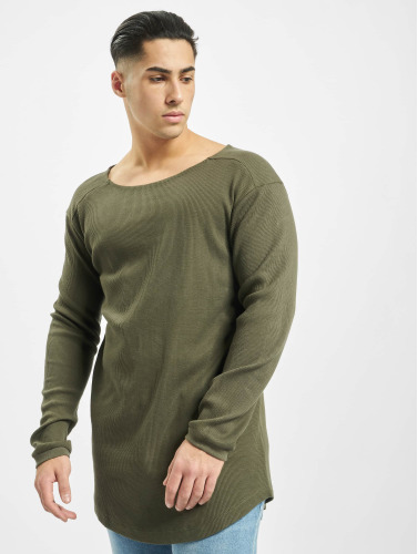 Urban Classics Herren Longsleeve Long Shaped Waffle in olive