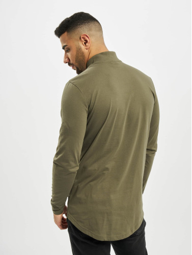 Urban Classics Herren Longsleeve Long Shaped Turtle Zip in olive