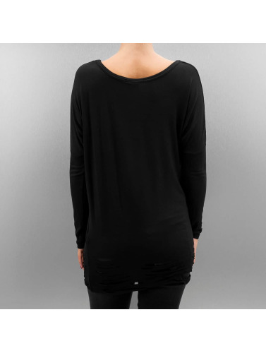 Urban Classics Damen Longsleeve Ladies Cutted Viscose in schwarz