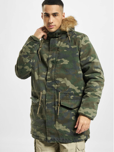 Urban Classics Herren Mantel Garment Washed Camo in camouflage