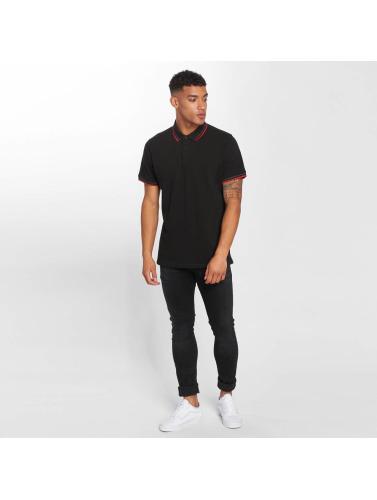 Urban Classics Herren Poloshirt Double Stripe in schwarz