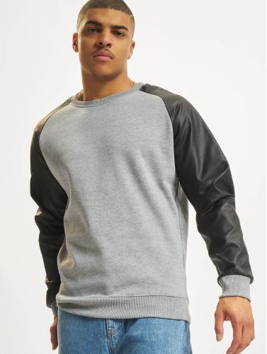 Urban Classics Herren Pullover Raglan Leather Imitation in grau