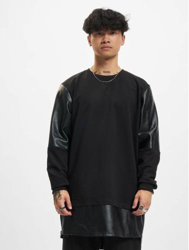 Urban Classics Herren Pullover Long Zipped Leather Imitation in schwarz