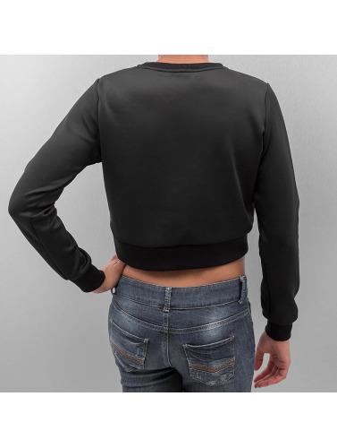 Urban Classics Damen Pullover Scuba Cropped in schwarz