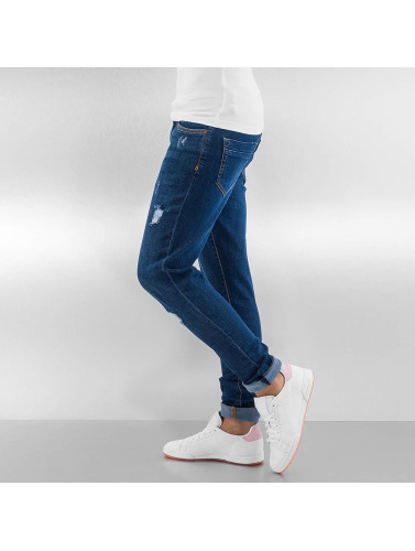 Urban Classics Damen Skinny Jeans Ripped Denim in blau