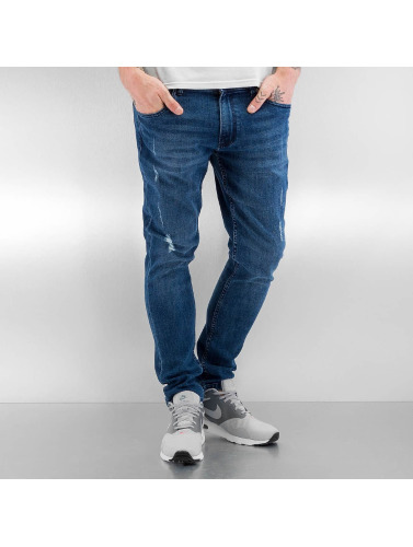 Urban Classics Herren Skinny Jeans Ripped in blau