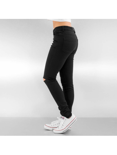 Urban Classics Damen Straight Fit Jeans Ladies Cut Knee in schwarz
