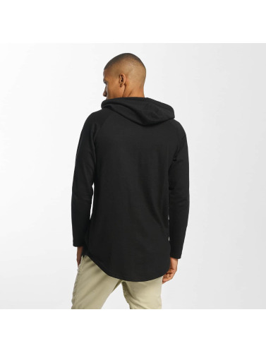 Urban Classics Hombres Sudadera Long Shaped Terry in negro