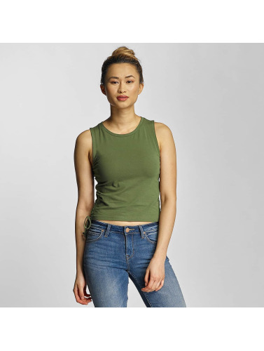 Urban Classics Damen Tank Tops Lace Up Cropped in olive