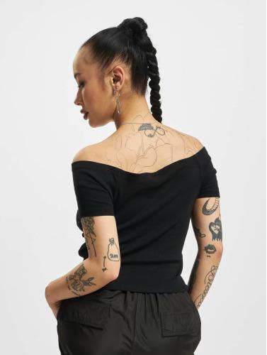Urban Classics Mujeres Top Off Shoulder Rib in negro