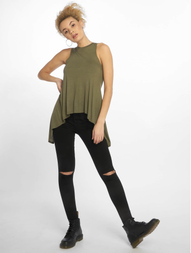 Urban Classics Damen Top Ladies HiLo Viscose in olive