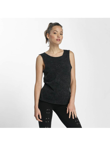Urban Classics Damen Top Crinkle Wash Back Cut in schwarz
