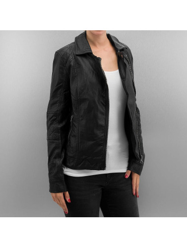 Urban Classics Damen Übergangsjacke Ladies Leather Imitation Biker in schwarz