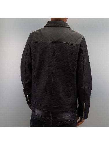 Urban Classics Herren Übergangsjacke Leather Imitation Biker in schwarz