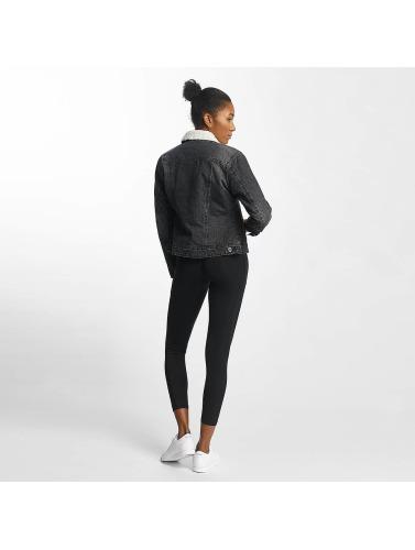 Urban Classics Damen Übergangsjacke Sherpa Denim in schwarz