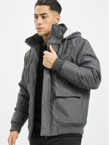 Urban Classics Herren Winterjacke Heavy Hooded in grau