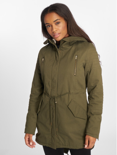 Urban Classics Damen Winterjacke Ladies Sherpa Lined Cotton in olive