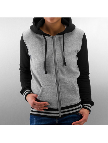 Urban Classics Damen Zip Hoodie Ladies 2-Tone College in grau