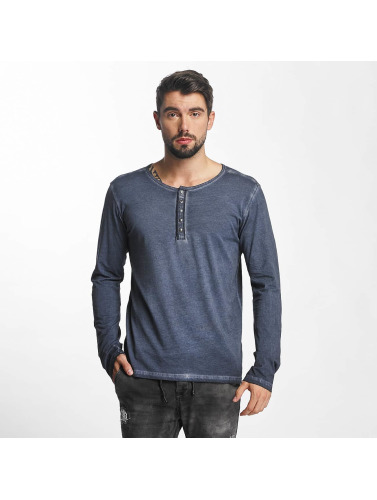 Urban Surface Hombres Camiseta de manga larga Button in azul