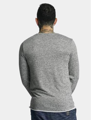 VSCT Clubwear Hombres Camiseta de manga larga Buttoned Double Optic in gris