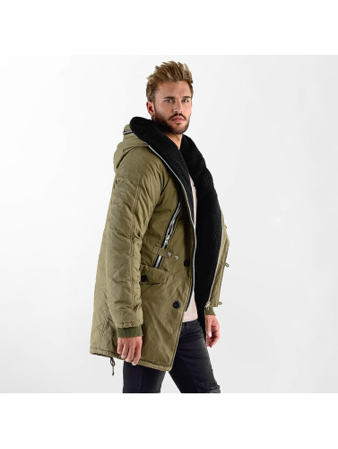 VSCT Clubwear Hombres Chaqueta de invierno Double-Zipper Huge Luxury Sherpa in caqui
