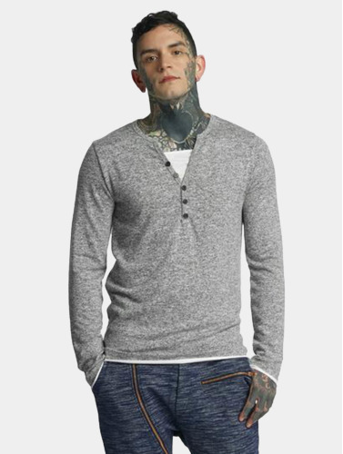 VSCT Clubwear Herren Longsleeve Buttoned Double Optic in grau