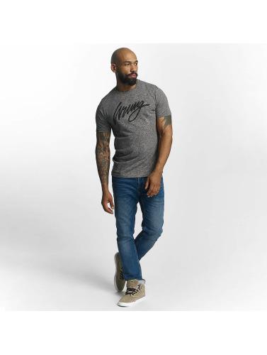 Wrung Division Hombres Camiseta Signature in gris