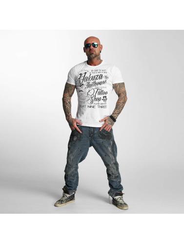 Yakuza Hombres Camiseta Jailhouse in blanco