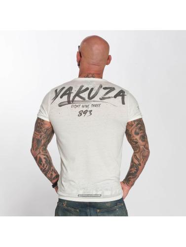Yakuza Hombres Camiseta Burnout in blanco