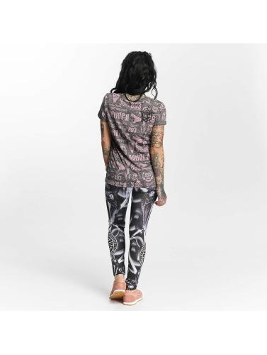 Yakuza Mujeres Camiseta Allover Label Boyfriend in gris