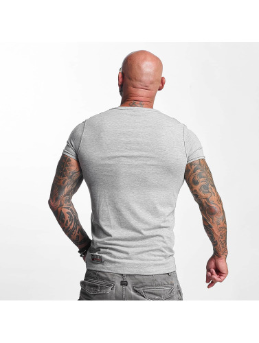 Yakuza Hombres Camiseta Basic Line V-Neck in gris
