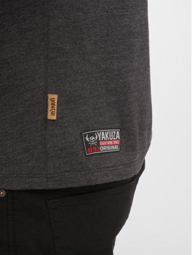 Yakuza Hombres Camiseta Basic Line Distressed V-Neck in gris