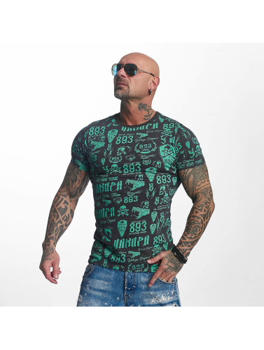 Yakuza Hombres Camiseta Allover Label in gris