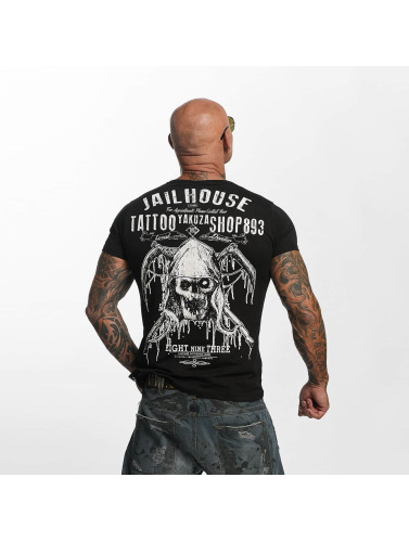 Yakuza Hombres Camiseta Tattoo Shop in negro
