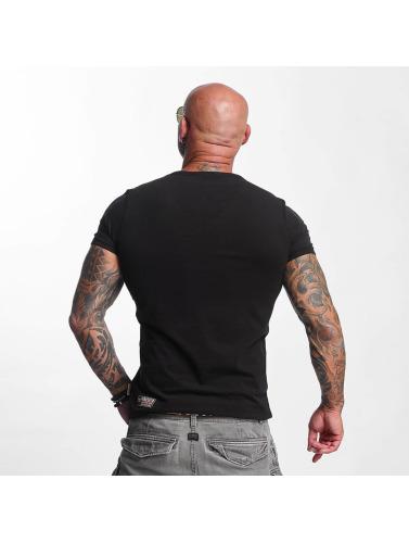 Yakuza Hombres Camiseta Basic Line V-Neck in negro