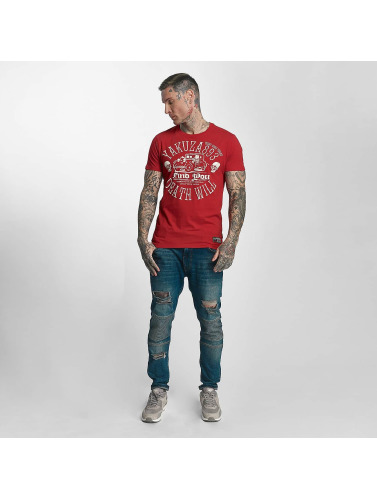 Yakuza Hombres Camiseta Death Will Find You in rojo