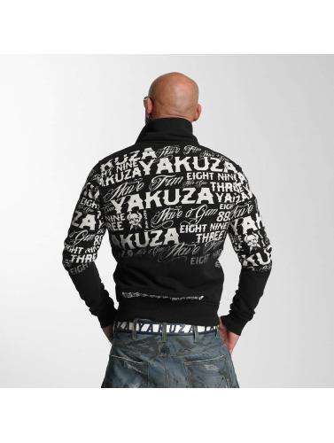 Yakuza Hombres Chaqueta de entretiempo Allover Label in negro