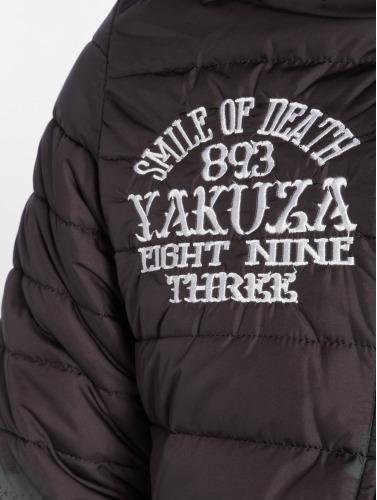Yakuza Hombres Chaqueta de invierno Allover Label Quilted in negro