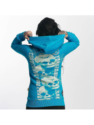 Yakuza Damen Hoody Skull Cross in blau