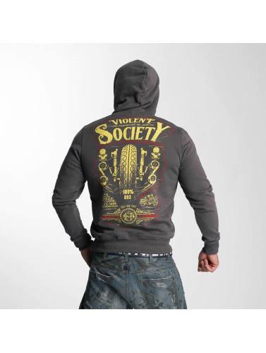 Yakuza Herren Hoody Violent Society in grau