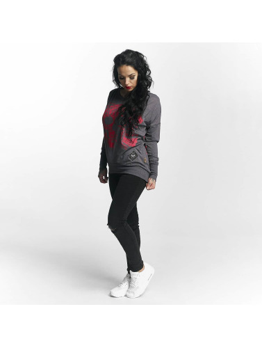 Yakuza Damen Longsleeve Skull Script Two Face in grau