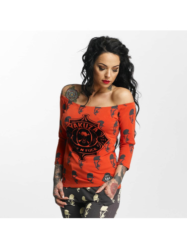 Yakuza Damen Longsleeve Sick N Fuck Off Shoulder in rot