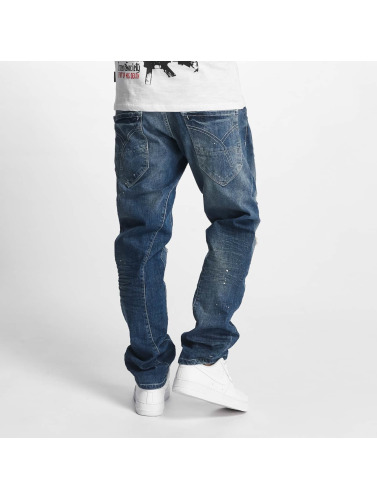 Yakuza Herren Loose Fit Jeans Skeleton in blau